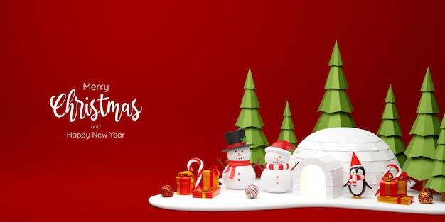 3d ilustracja świąteczny sztandar bałwana i pingwina w sosnowym lesie