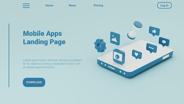 3d ilustracja szablon strony docelowej aplikacji mobilnych