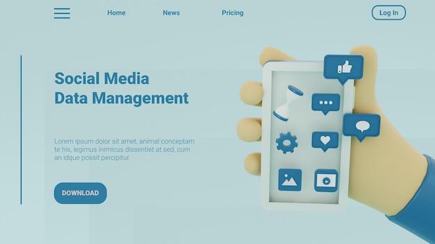 3d ilustracja szablon strony docelowej mediów społecznościowych