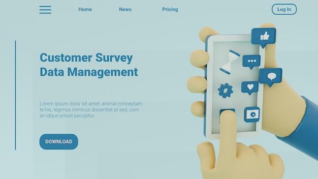 3d ilustracja szablon strony docelowej zarządzania danymi ankiety dla klientów