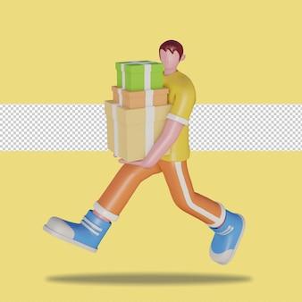 3d ilustracja szczęśliwych ludzi niosących pudełka na prezenty