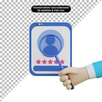 3d ilustracja szuka zatrudnienia