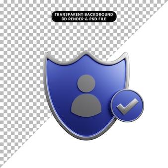 3d ilustracja tarczy koncepcji bezpieczeństwa z ikoną ludzi