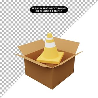 3d ilustracja tektury ze stożkiem drogowym