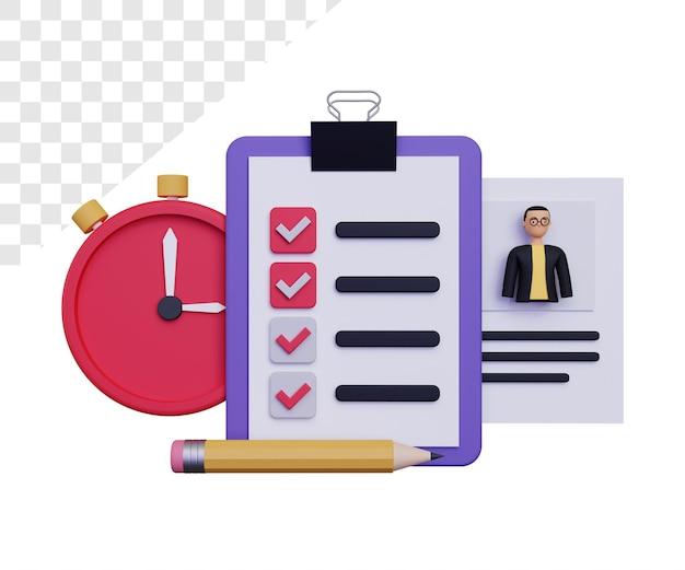 3d ilustracja testu pracy z męskim charakterem