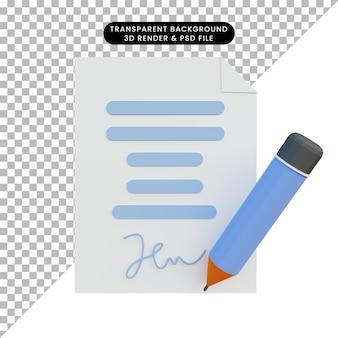 3d ilustracja umowy z ołówkiem