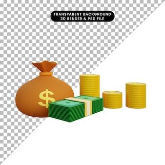 3d ilustracja worek pieniędzy i monety stosu