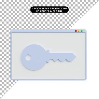 3d ilustracja wyświetlacz sieciowy z kluczem