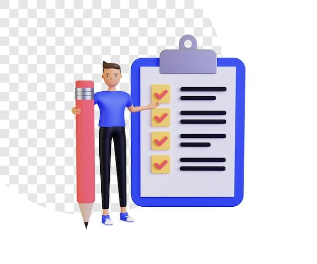 3d ilustracja z listą kontrolną z męskim charakterem trzymającym ołówek