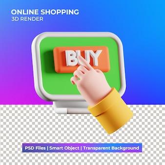 3d ilustracja zakupy online na białym tle