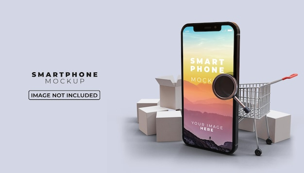 3d ilustracja zakupy online na telefonie komórkowym z makietą ekranu smartfona