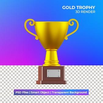 3d ilustracja złote trofeum na białym tle