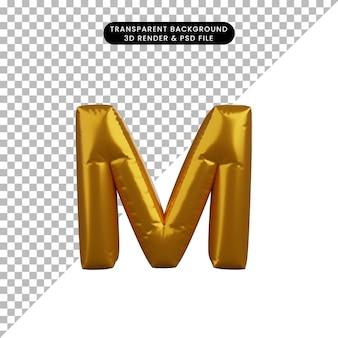 3d ilustracja złotego balonu koncepcja alfabetu m