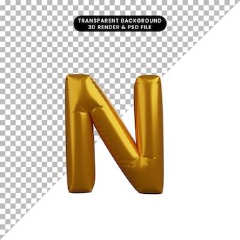 3d ilustracja złotego balonu koncepcja alfabetu n