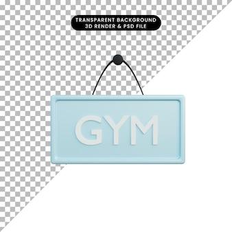 3d ilustracja znak siłowni