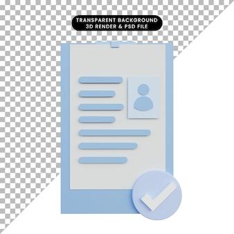 3d ilustracja życiorys z zaznaczeniem listy kontrolnej