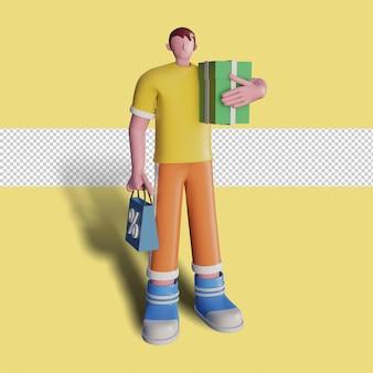3d ilustracje szczęśliwych ludzi robią zakupy w sklepie