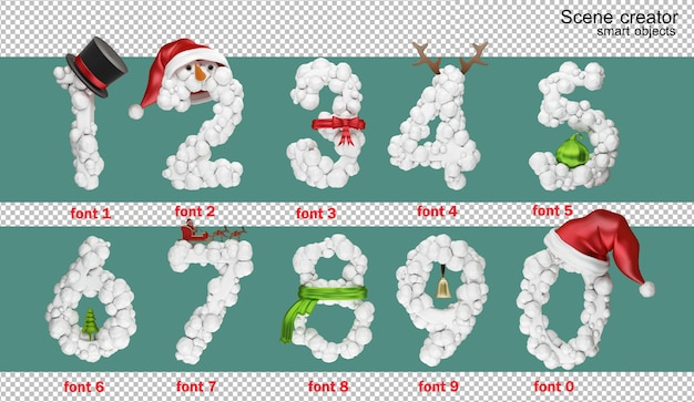 3d ilustracji alfabetu angielskiego boże narodzenie