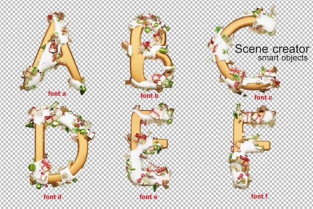 3d ilustracji alfabetu boże narodzenie