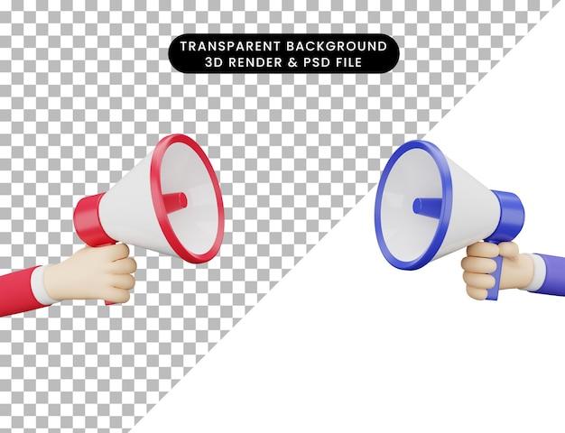 3d ilustracji dwie ręce i megafon