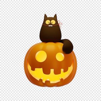 3d jacks dynia latarnia i czarny kot halloween koncepcja na białym tle ilustracja 3d