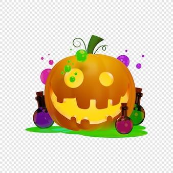 3d jacks dynia latarnia i czarownice mikstury koncepcja halloween