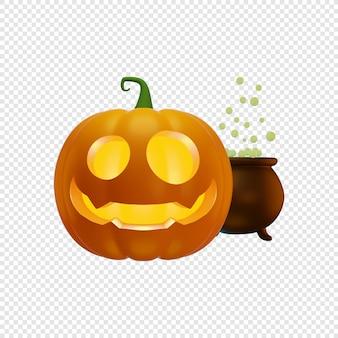 3d jacks dynia latarnia i kocioł czarownic z zieloną miksturą halloween koncepcja