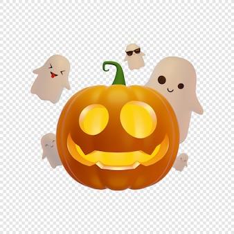 3d jacks dynia latarnia i latające duchy koncepcja halloween na białym tle ilustracja 3d
