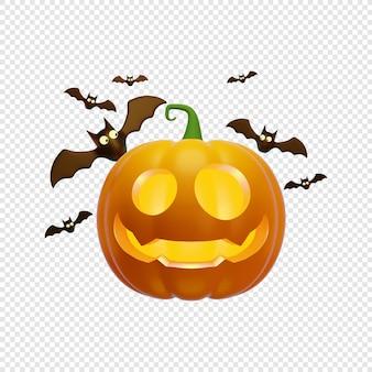 3d jacks dynia latarnia i latające nietoperze koncepcja halloween na białym tle ilustracja 3d