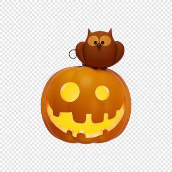 3d jacks dynia latarnia i sowa halloween koncepcja na białym tle ilustracja 3d