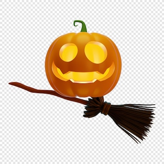 3d jacks dynia latarnia na miotle wiedźmy halloween koncepcja na białym tle ilustracja 3d