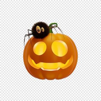 3d jacks dynia latarnia z pająkiem halloween koncepcja na białym tle ilustracja 3d