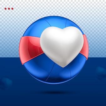 3d jak kula serca niebieski, czerwony i biały w lewo