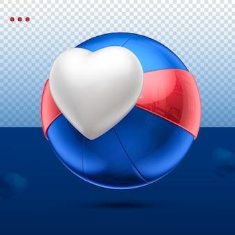 3d jak kula serca niebieski, czerwony i biały w prawo