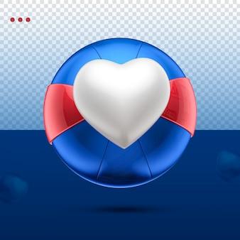 3d jak serce piłka niebieski, czerwony i biały przód