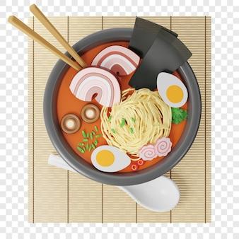 3d japońska zupa ramen w okrągłym talerzu na pałeczkach z mat bambusowych w zupie obok łyżki