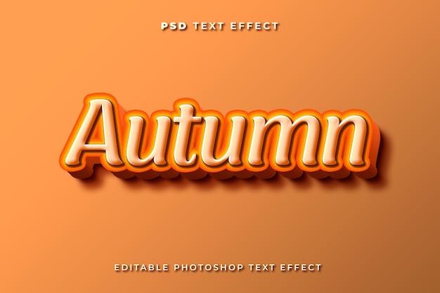 3d jesienny szablon efektu tekstowego