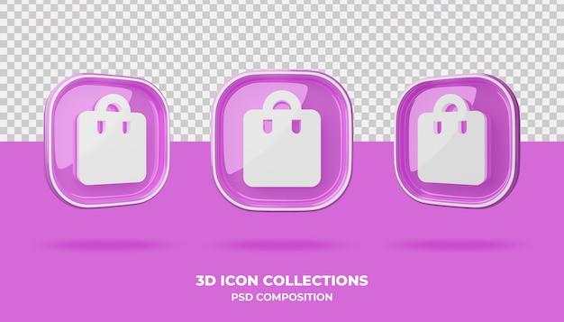 3d kolekcje ikon na różowej odznaka