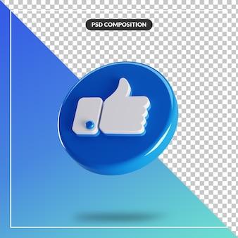 3d koło błyszczący jak ikona facebook na białym tle