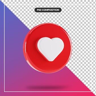 3d koło błyszczący jak ikona instagram na białym tle