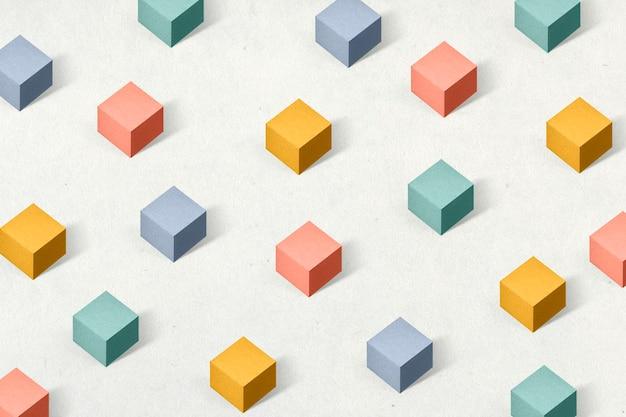 3d kolorowe papierowe rękodzieło sześcienne wzorzyste tło