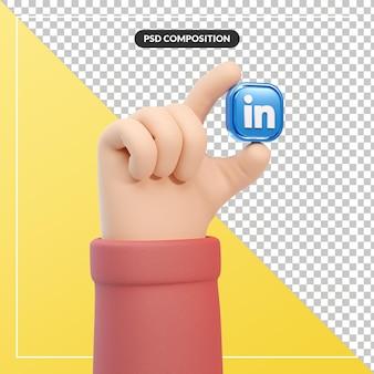 3d kreskówka gest ręki z ikoną logo linkedin