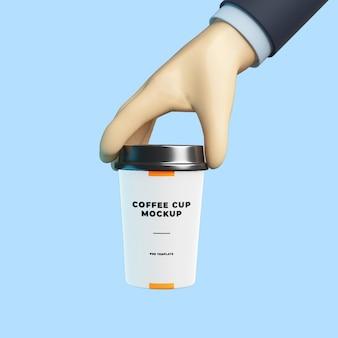 3d kreskówka ręka z makietą filiżanki kawy
