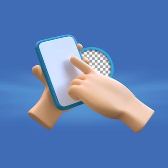 3d kreskówka ręka za pomocą smartfona ilustracja