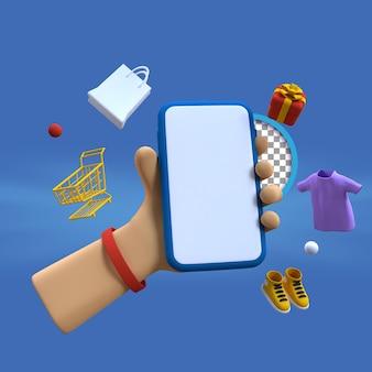 3d kreskówka ręka za pomocą smartfona z obiektem mody ilustracja