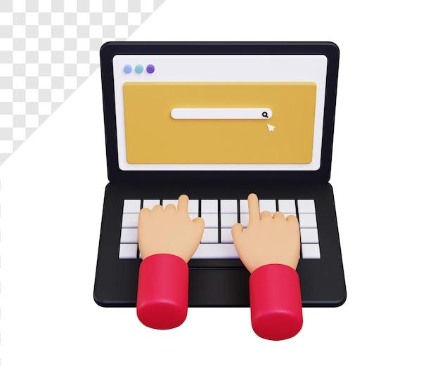 3d laptop z ilustracją ręcznego pisania na pasku wyszukiwania