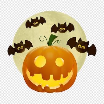 3d latarnia z dyni jacks i pełnia księżyca z latającymi nietoperzami koncepcja halloween