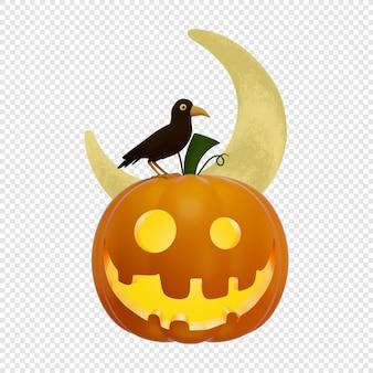3d latarnia z dyni jacks z siedzącym czarnym krukiem i księżycem koncepcja halloween