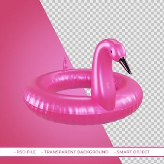3d lato różowy pływak flamingo na białym tle