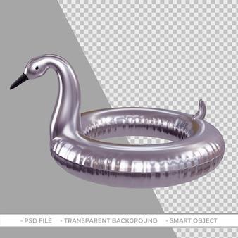 3d lato srebrny pływak w kształcie flaminga na białym tle